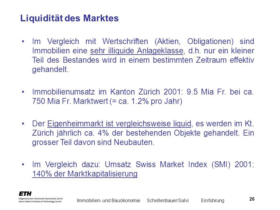 Immobilien- und BauökonomieSchellenbauer/Salvi Einführung 26 Liquidität des Marktes Im Vergleich mit Wertschriften (Aktien, Obligationen) sind Immobil