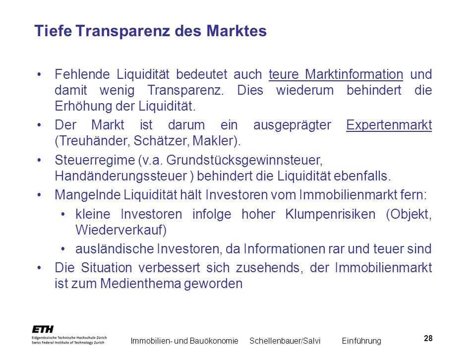Immobilien- und BauökonomieSchellenbauer/Salvi Einführung 28 Tiefe Transparenz des Marktes Fehlende Liquidität bedeutet auch teure Marktinformation un
