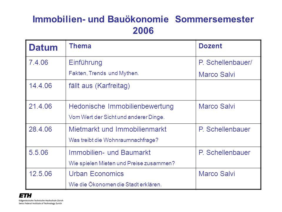 Datum ThemaDozent 7.4.06Einführung Fakten, Trends und Mythen. P. Schellenbauer/ Marco Salvi 14.4.06fällt aus (Karfreitag) 21.4.06Hedonische Immobilien