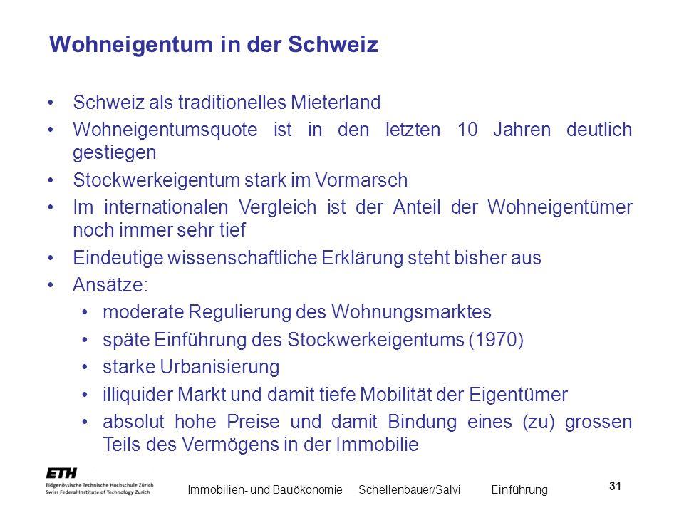 Immobilien- und BauökonomieSchellenbauer/Salvi Einführung 31 Wohneigentum in der Schweiz Schweiz als traditionelles Mieterland Wohneigentumsquote ist