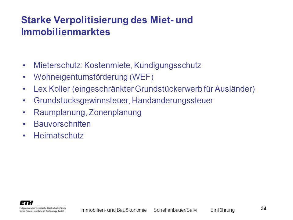 Immobilien- und BauökonomieSchellenbauer/Salvi Einführung 34 Starke Verpolitisierung des Miet- und Immobilienmarktes Mieterschutz: Kostenmiete, Kündig