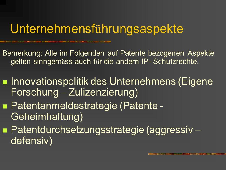 Unternehmensf ü hrungsaspekte Bemerkung: Alle im Folgenden auf Patente bezogenen Aspekte gelten sinngem ä ss auch f ü r die andern IP- Schutzrechte.