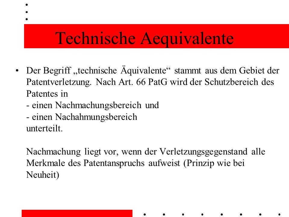 Technische Aequivalente Der Begriff technische Äquivalente stammt aus dem Gebiet der Patentverletzung.