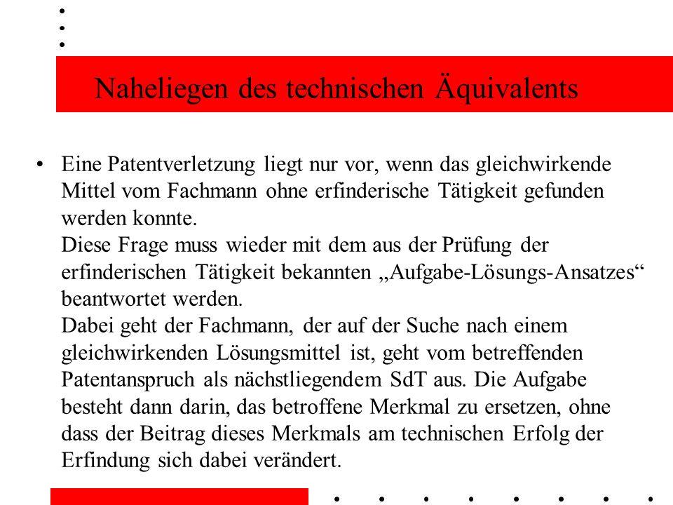 Naheliegen des technischen Äquivalents Eine Patentverletzung liegt nur vor, wenn das gleichwirkende Mittel vom Fachmann ohne erfinderische Tätigkeit gefunden werden konnte.