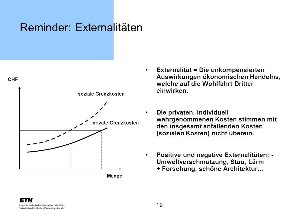 19 Reminder: Externalitäten Externalität = Die unkompensierten Auswirkungen ökonomischen Handelns, welche auf die Wohlfahrt Dritter einwirken. Die pri
