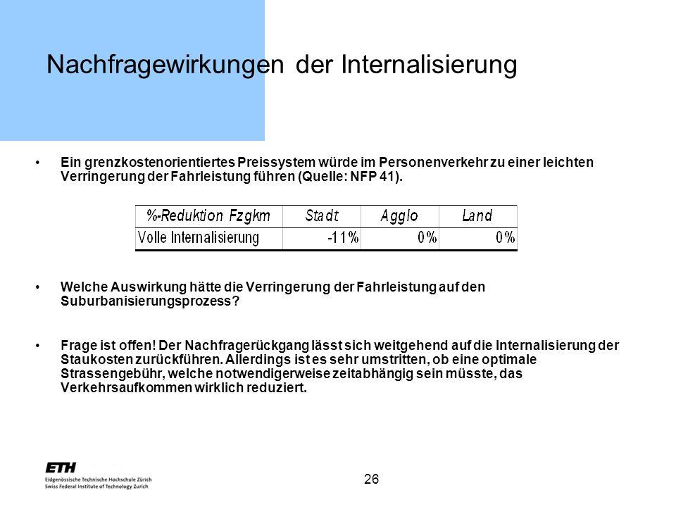 26 Nachfragewirkungen der Internalisierung Ein grenzkostenorientiertes Preissystem würde im Personenverkehr zu einer leichten Verringerung der Fahrlei