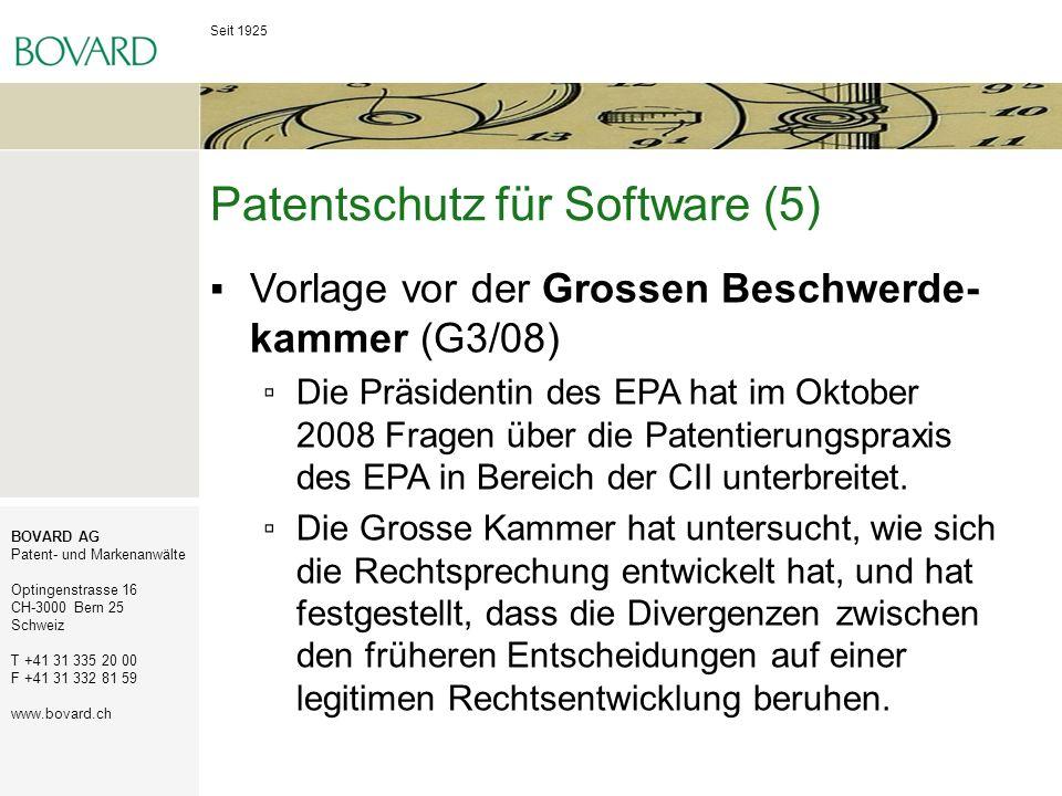 Seit 1925 BOVARD AG Patent- und Markenanwälte Optingenstrasse 16 CH-3000 Bern 25 Schweiz T +41 31 335 20 00 F +41 31 332 81 59 www.bovard.ch Patentsch
