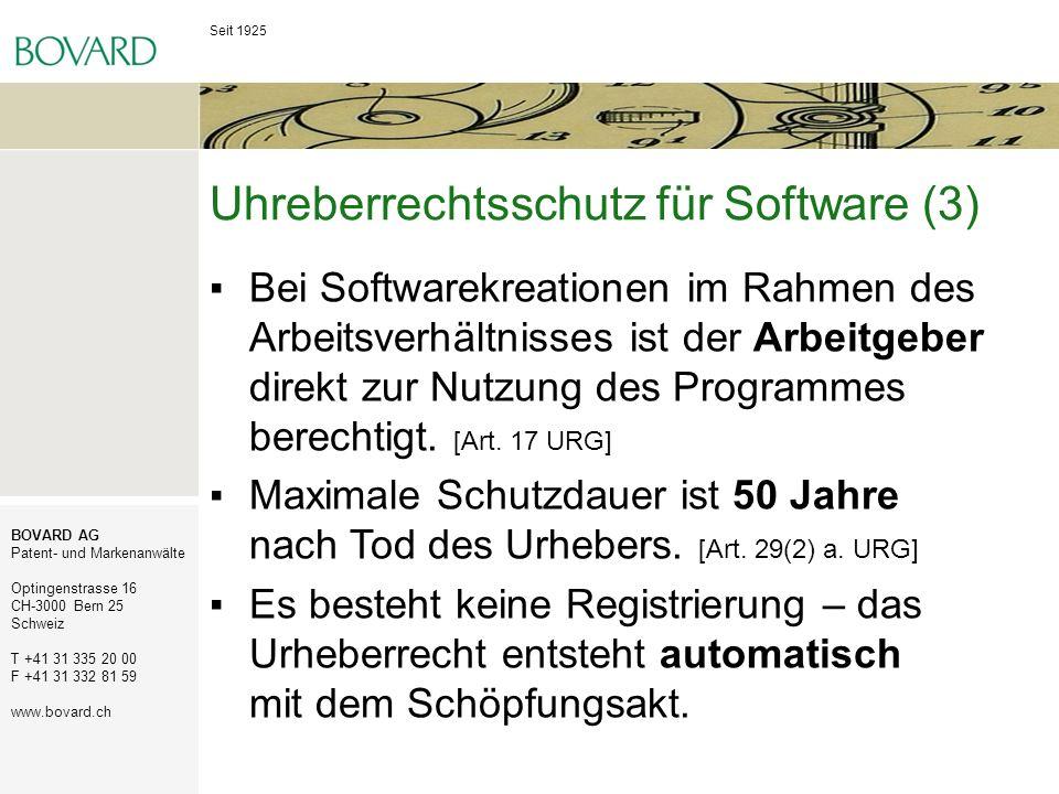 Seit 1925 BOVARD AG Patent- und Markenanwälte Optingenstrasse 16 CH-3000 Bern 25 Schweiz T +41 31 335 20 00 F +41 31 332 81 59 www.bovard.ch Uhreberre