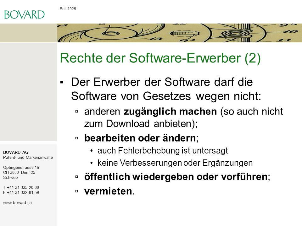 Seit 1925 BOVARD AG Patent- und Markenanwälte Optingenstrasse 16 CH-3000 Bern 25 Schweiz T +41 31 335 20 00 F +41 31 332 81 59 www.bovard.ch Rechte de