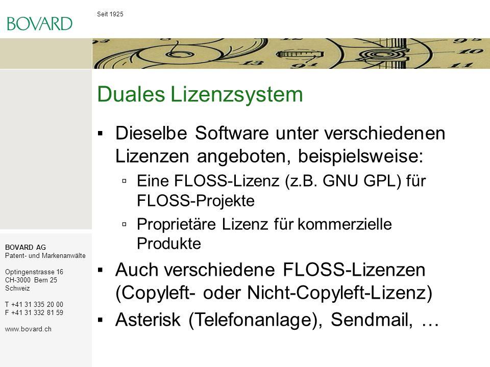 Seit 1925 BOVARD AG Patent- und Markenanwälte Optingenstrasse 16 CH-3000 Bern 25 Schweiz T +41 31 335 20 00 F +41 31 332 81 59 www.bovard.ch Duales Li