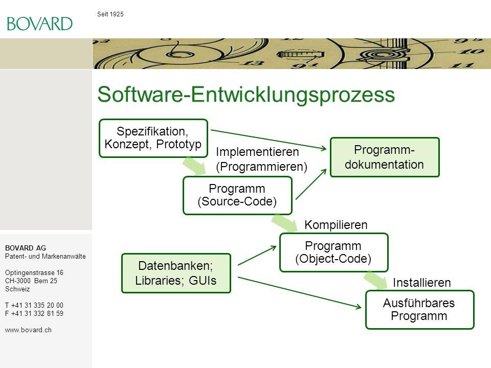 Seit 1925 BOVARD AG Patent- und Markenanwälte Optingenstrasse 16 CH-3000 Bern 25 Schweiz T +41 31 335 20 00 F +41 31 332 81 59 www.bovard.ch Urheberrechtsschutz für Software Computerprogramme gelten als Werke und sind also grundsätzlich geschützt durch das Urheberrecht.