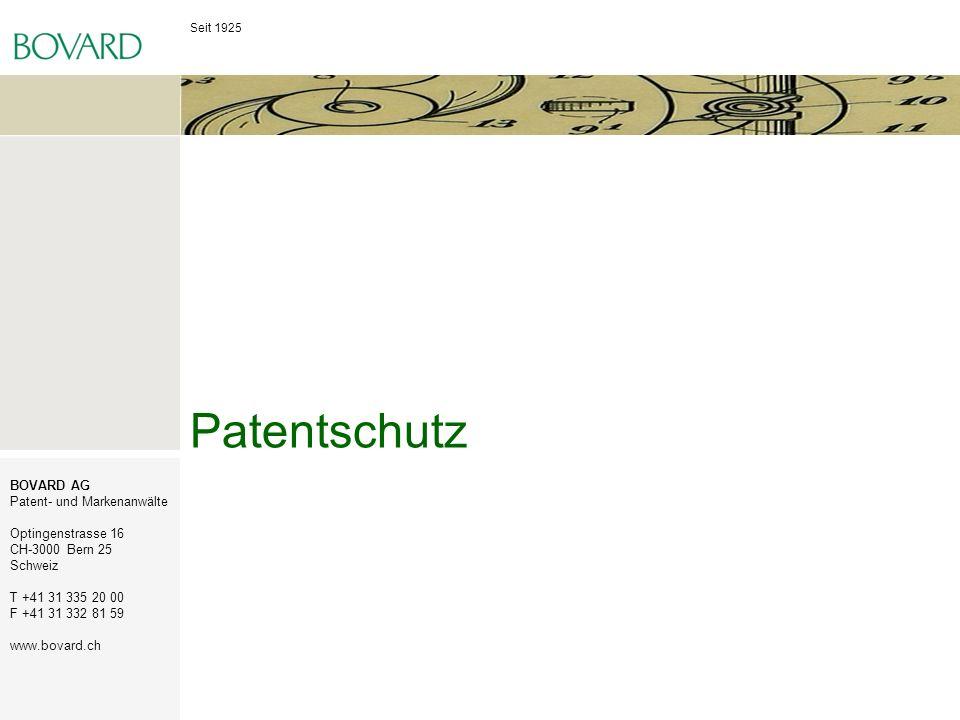 Seit 1925 BOVARD AG Patent- und Markenanwälte Optingenstrasse 16 CH-3000 Bern 25 Schweiz T +41 31 335 20 00 F +41 31 332 81 59 www.bovard.ch Patentschutz für Software Patente werden für Erfindungen auf allen Gebieten der Technik erteilt, sofern sie neu sind, auf einer erfinderischen Tätigkeit beruhen und gewerblich anwendbar sind.