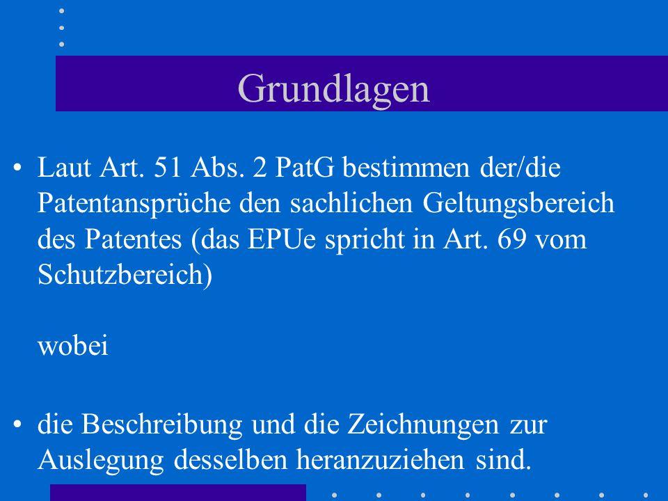 Grundlagen Laut Art. 51 Abs. 2 PatG bestimmen der/die Patentansprüche den sachlichen Geltungsbereich des Patentes (das EPUe spricht in Art. 69 vom Sch