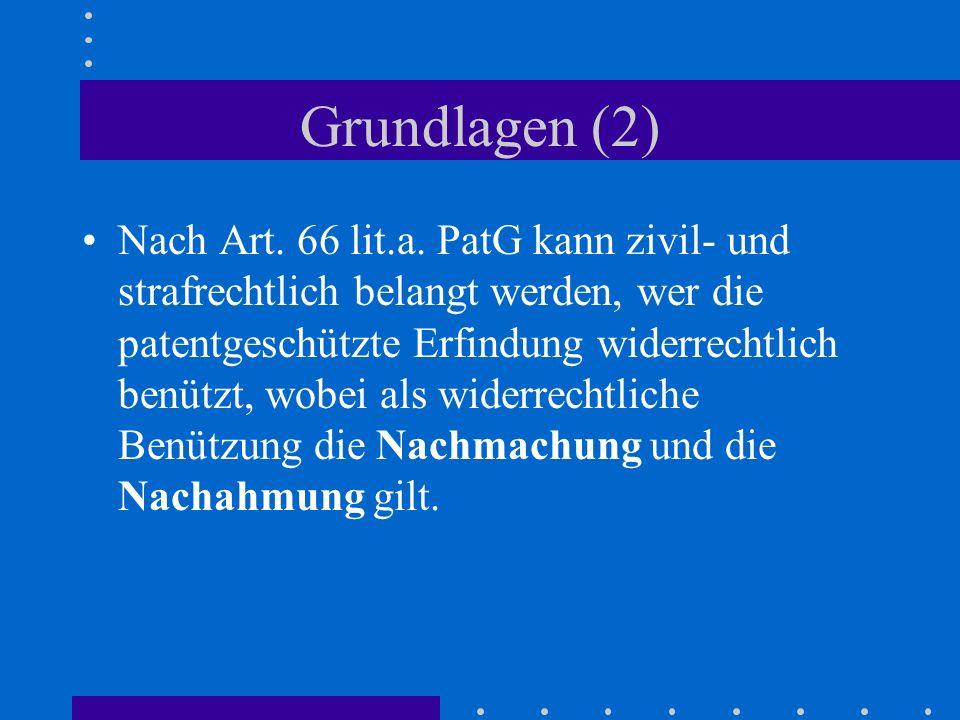 Grundlagen (2) Nach Art. 66 lit.a. PatG kann zivil- und strafrechtlich belangt werden, wer die patentgeschützte Erfindung widerrechtlich benützt, wobe