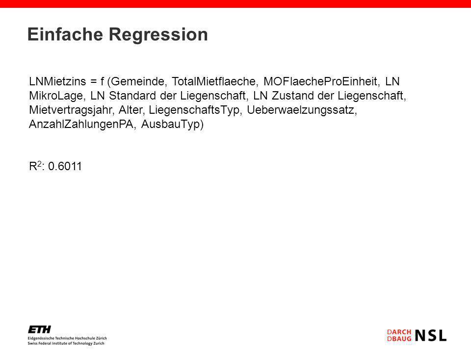 Einfache Regression LNMietzins = f (Gemeinde, TotalMietflaeche, MOFlaecheProEinheit, LN MikroLage, LN Standard der Liegenschaft, LN Zustand der Liegen