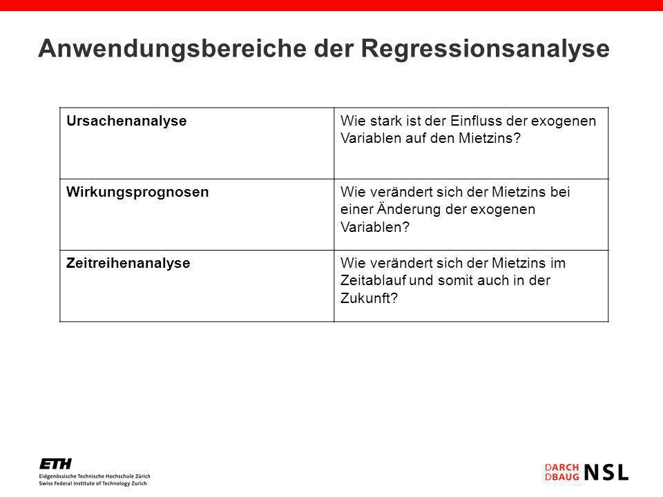 Anwendungsbereiche der Regressionsanalyse UrsachenanalyseWie stark ist der Einfluss der exogenen Variablen auf den Mietzins? WirkungsprognosenWie verä