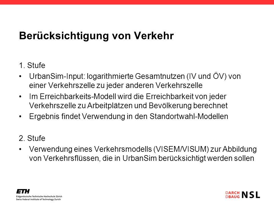 Berücksichtigung von Verkehr 1. Stufe UrbanSim-Input: logarithmierte Gesamtnutzen (IV und ÖV) von einer Verkehrszelle zu jeder anderen Verkehrszelle I