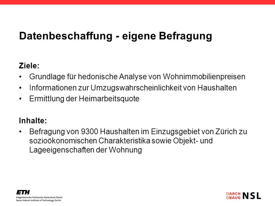 Datenbeschaffung - eigene Befragung Ziele: Grundlage für hedonische Analyse von Wohnimmobilienpreisen Informationen zur Umzugswahrscheinlichkeit von H