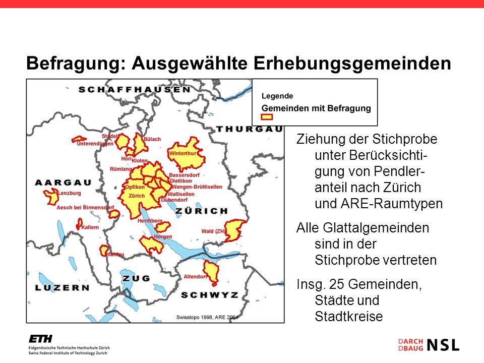 Befragung: Ausgewählte Erhebungsgemeinden Ziehung der Stichprobe unter Berücksichti- gung von Pendler- anteil nach Zürich und ARE-Raumtypen Alle Glatt