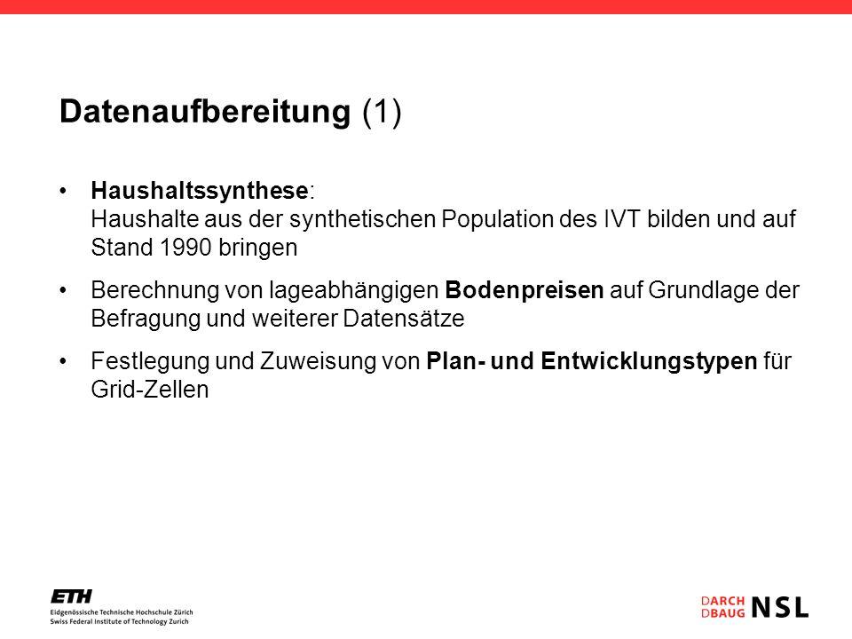 Datenaufbereitung (1) Haushaltssynthese: Haushalte aus der synthetischen Population des IVT bilden und auf Stand 1990 bringen Berechnung von lageabhän