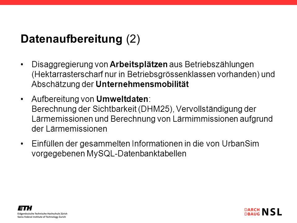 Datenaufbereitung (2) Disaggregierung von Arbeitsplätzen aus Betriebszählungen (Hektarrasterscharf nur in Betriebsgrössenklassen vorhanden) und Abschä