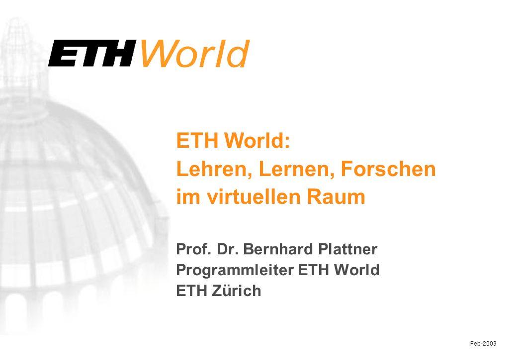 32 Feb-2003 vireal Input- / Output-Relationen zwischen den ETH World Projekten (Ende 2002) hohes Potenzial Produkte anderer zu nutzen hohes Potenzial eigene Produkte zur Verfügung zu stellen hohes Potenzial der Produkt- nutzung in beide Richtungen