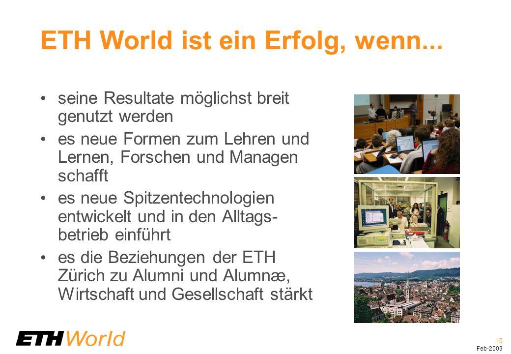 10 Feb-2003 ETH World ist ein Erfolg, wenn...