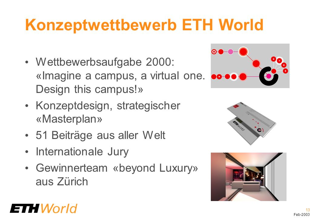 13 Feb-2003 Konzeptwettbewerb ETH World Wettbewerbsaufgabe 2000: «Imagine a campus, a virtual one. Design this campus!» Konzeptdesign, strategischer «