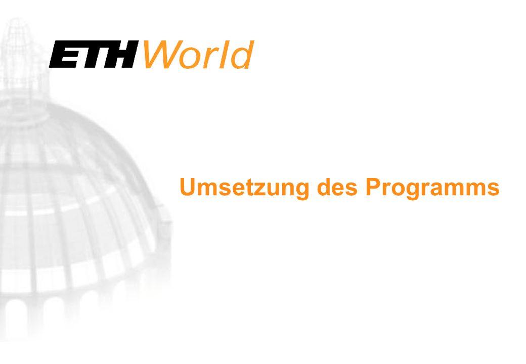 Umsetzung des Programms