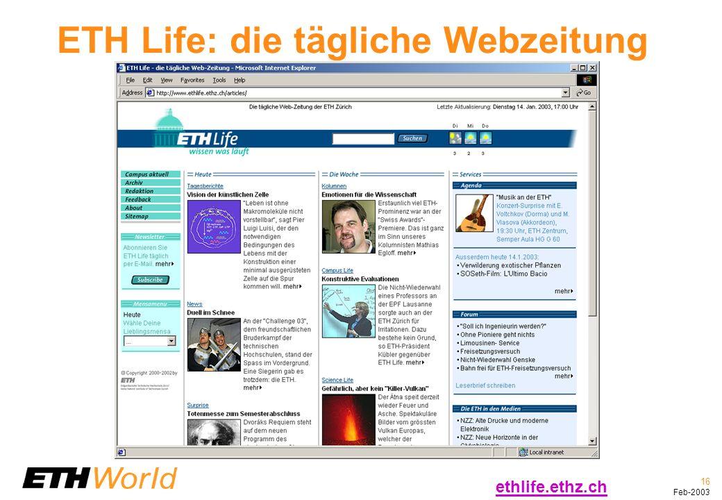 16 Feb-2003 ETH Life: die tägliche Webzeitung ethlife.ethz.ch