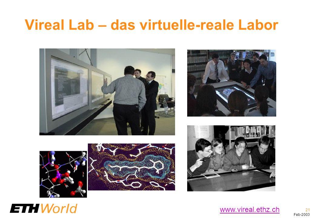 21 Feb-2003 Vireal Lab – das virtuelle-reale Labor www.vireal.ethz.ch