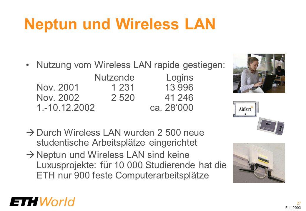 27 Feb-2003 Neptun und Wireless LAN Nutzung vom Wireless LAN rapide gestiegen: NutzendeLogins Nov.