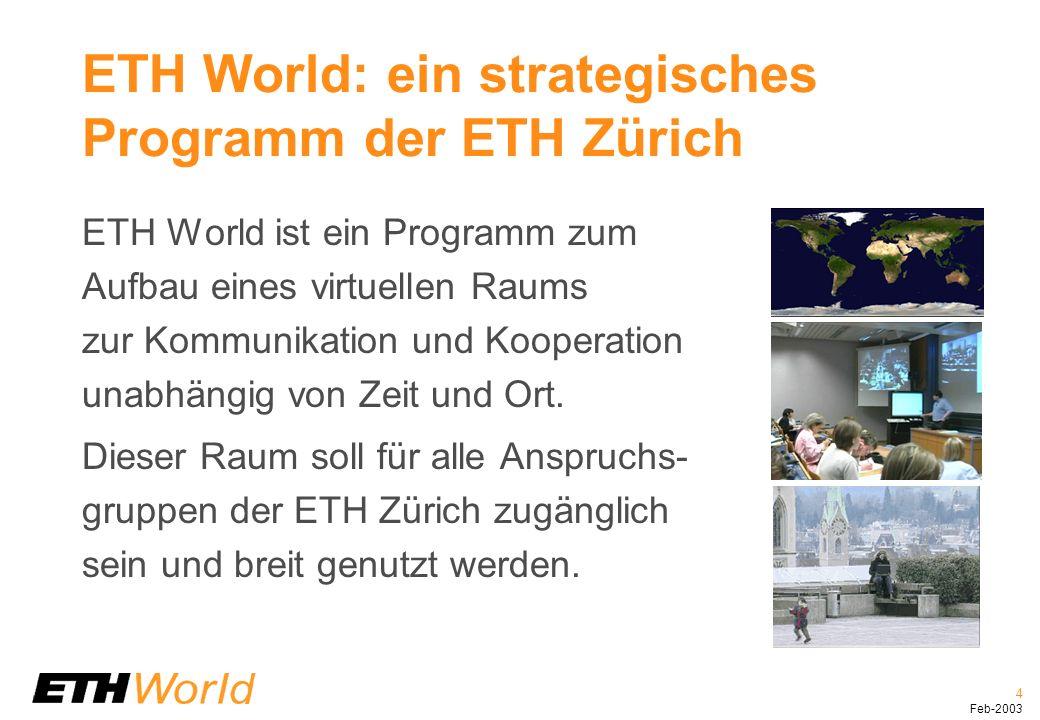 5 Feb-2003 ETH World unterstützt die Kernprozesse der ETH Zürich ETH World unterstützt alle ETH-Angehö- rigen in ihren Kernaufgaben – Lehren, Lernen, Forschen und den dazugehörenden Managementleistungen.
