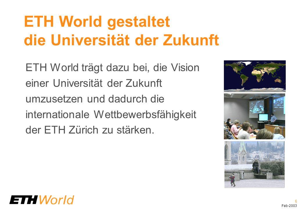 6 Feb-2003 ETH World gestaltet die Universität der Zukunft ETH World trägt dazu bei, die Vision einer Universität der Zukunft umzusetzen und dadurch die internationale Wettbewerbsfähigkeit der ETH Zürich zu stärken.