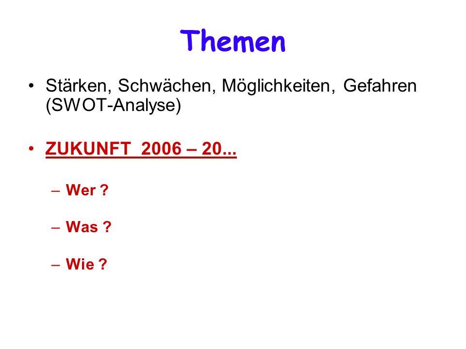 Stärken, Schwächen, Möglichkeiten, Gefahren (SWOT-Analyse) ZUKUNFT 2006 – 20...