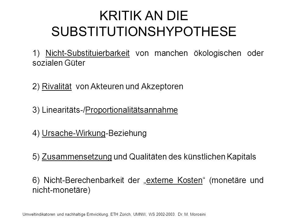 Umweltindikatoren und nachhaltige Entwicklung. ETH Zürich, UMNW, WS 2002-2003. Dr. M. Morosini KRITIK AN DIE SUBSTITUTIONSHYPOTHESE 1) Nicht-Substitui