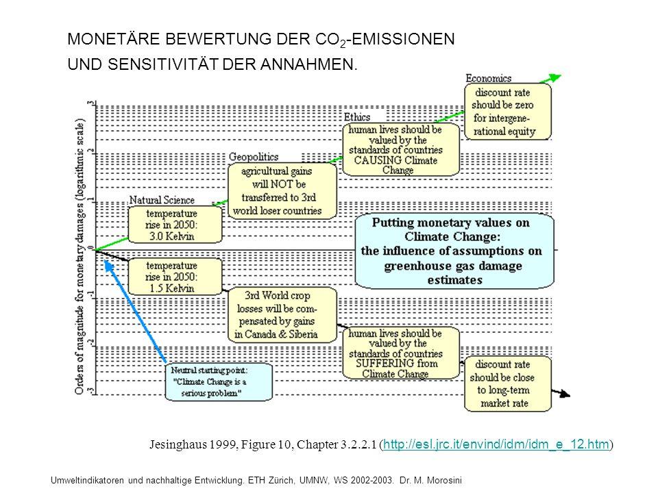 Umweltindikatoren und nachhaltige Entwicklung. ETH Zürich, UMNW, WS 2002-2003. Dr. M. Morosini MONETÄRE BEWERTUNG DER CO 2 -EMISSIONEN UND SENSITIVITÄ