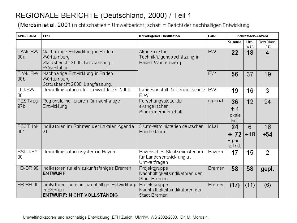 Umweltindikatoren und nachhaltige Entwicklung. ETH Zürich, UMNW, WS 2002-2003. Dr. M. Morosini REGIONALE BERICHTE (Deutschland, 2000) / Teil 1 ( Moros