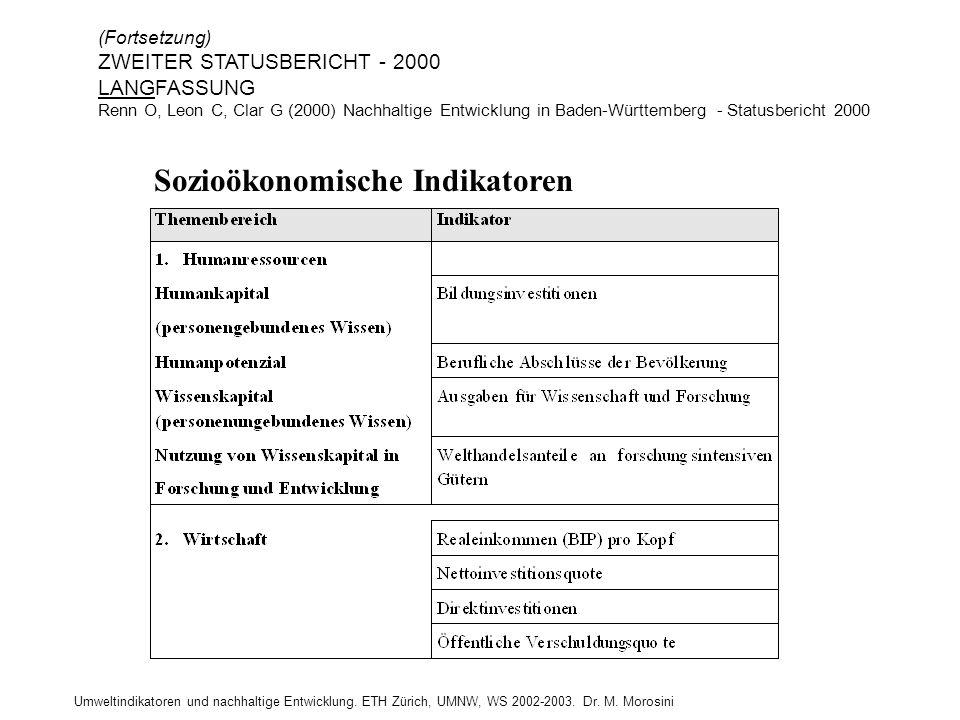 Umweltindikatoren und nachhaltige Entwicklung. ETH Zürich, UMNW, WS 2002-2003. Dr. M. Morosini Sozioökonomische Indikatoren (Fortsetzung) ZWEITER STAT
