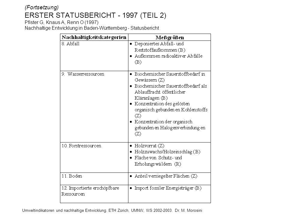 Umweltindikatoren und nachhaltige Entwicklung. ETH Zürich, UMNW, WS 2002-2003. Dr. M. Morosini (Fortsetzung) ERSTER STATUSBERICHT - 1997 (TEIL 2) Pfis
