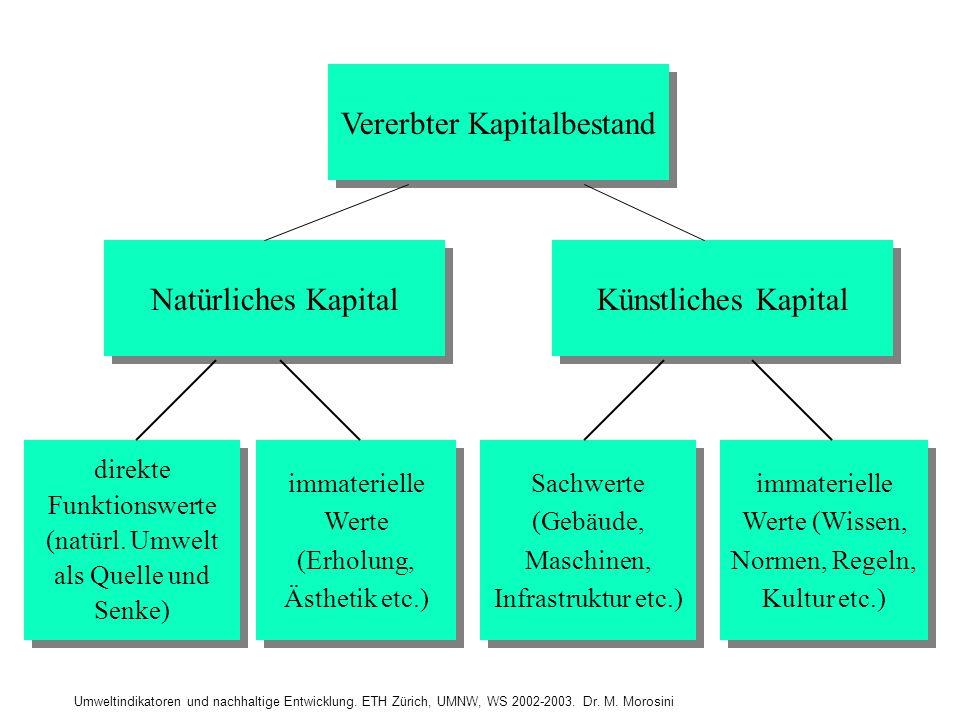Umweltindikatoren und nachhaltige Entwicklung. ETH Zürich, UMNW, WS 2002-2003. Dr. M. Morosini Vererbter Kapitalbestand Natürliches Kapital Künstliche