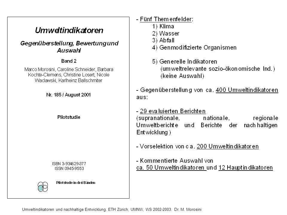 GEGENÜBERSTELLUNG VON UMWELTINDIKATOREN (Morosini et al. 2001; Band 2; S. 159)
