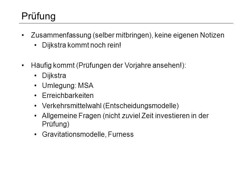 Prüfung Zusammenfassung (selber mitbringen), keine eigenen Notizen Dijkstra kommt noch rein! Häufig kommt (Prüfungen der Vorjahre ansehen!): Dijkstra