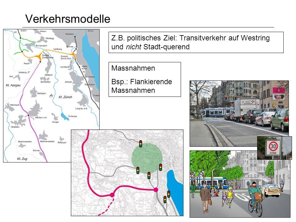 Verkehrsmodelle Massnahmen Bsp.: Flankierende Massnahmen Z.B. politisches Ziel: Transitverkehr auf Westring und nicht Stadt-querend