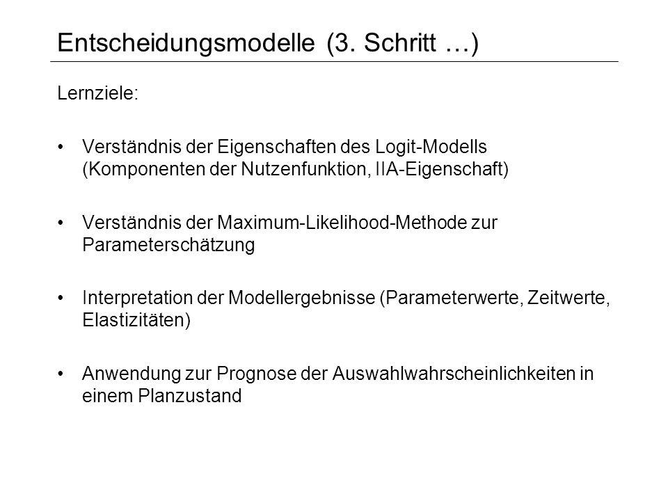 Entscheidungsmodelle (3. Schritt …) Lernziele: Verständnis der Eigenschaften des Logit-Modells (Komponenten der Nutzenfunktion, IIA-Eigenschaft) Verst