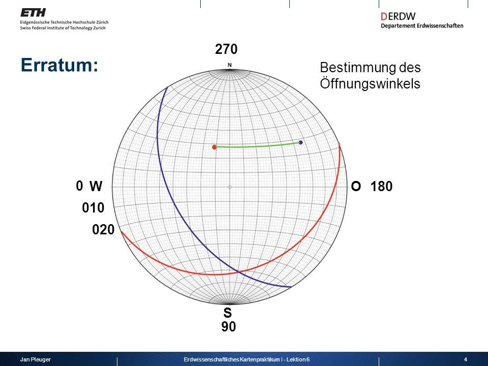 Jan Pleuger5Erdwissenschaftliches Kartenpraktikum I - Lektion 6 WO S 010 020 180 90 0 Bestimmung des Öffnungswinkels 270 Erratum: