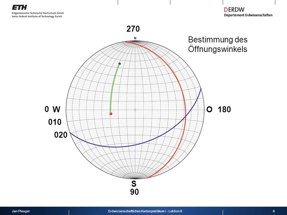 Jan Pleuger6Erdwissenschaftliches Kartenpraktikum I - Lektion 6 WO S 010 020 180 90 0 Bestimmung des Öffnungswinkels 270