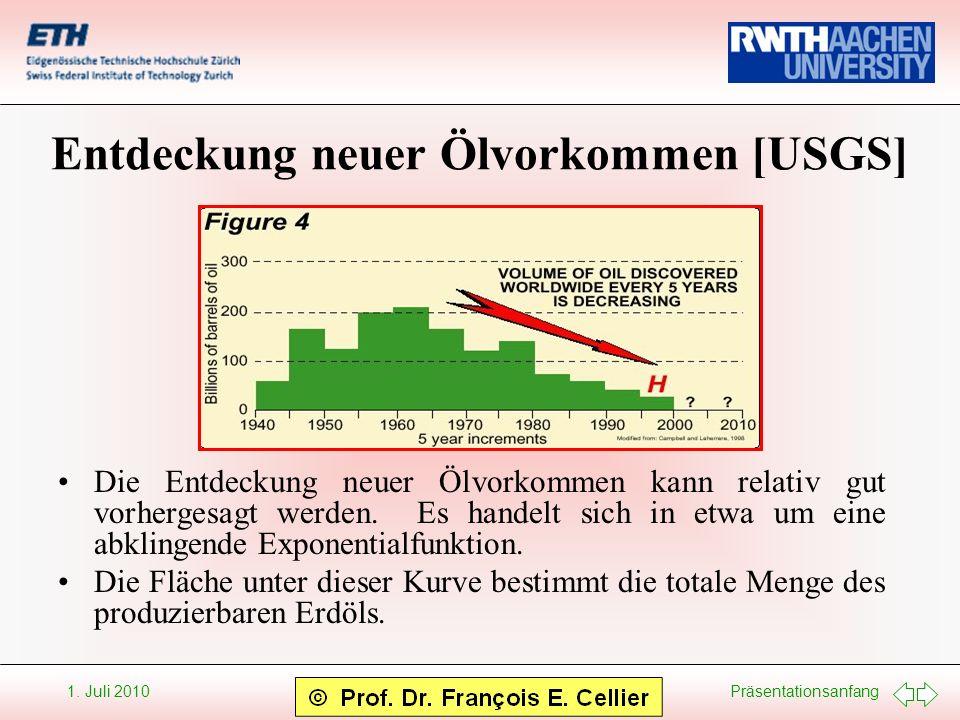 Präsentationsanfang 1. Juli 2010 Entdeckung neuer Ölvorkommen [USGS] Die Entdeckung neuer Ölvorkommen kann relativ gut vorhergesagt werden. Es handelt