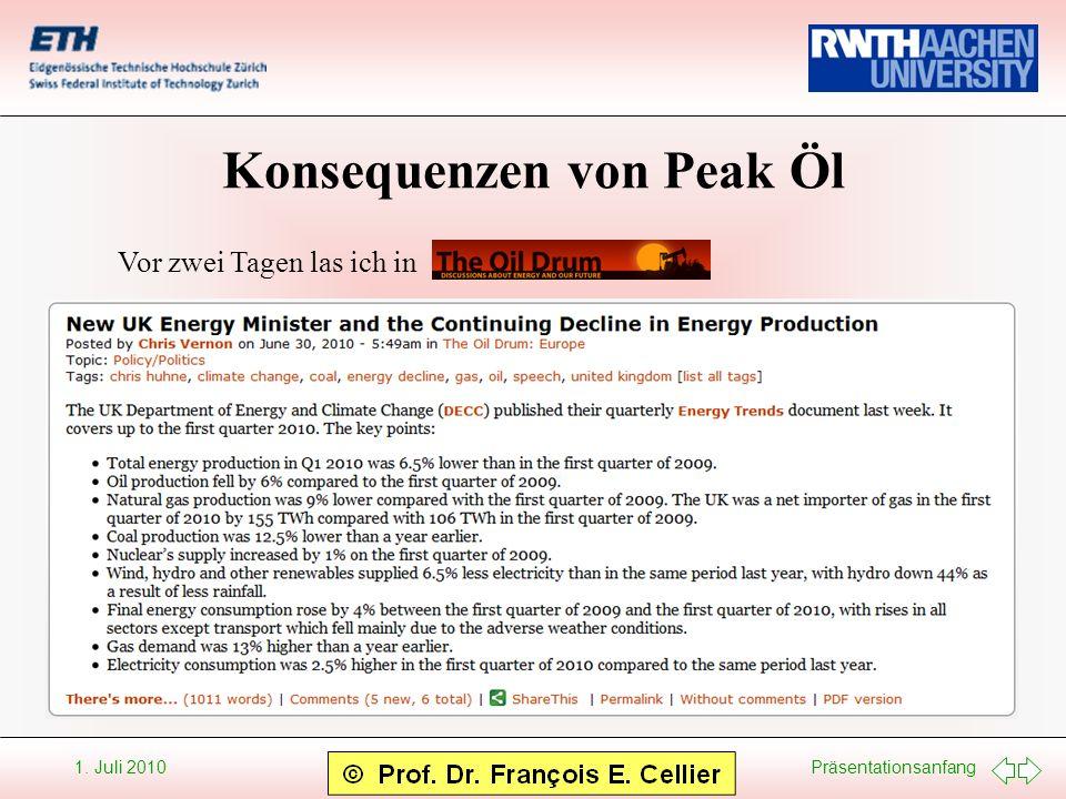 Präsentationsanfang 1. Juli 2010 Konsequenzen von Peak Öl Vor zwei Tagen las ich in