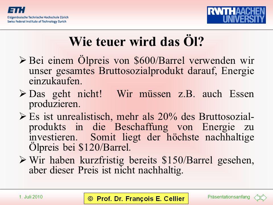 Präsentationsanfang 1. Juli 2010 Wie teuer wird das Öl? Bei einem Ölpreis von $600/Barrel verwenden wir unser gesamtes Bruttosozialprodukt darauf, Ene
